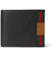 Gucci Web-Trimmed Leather Billfold Wallet