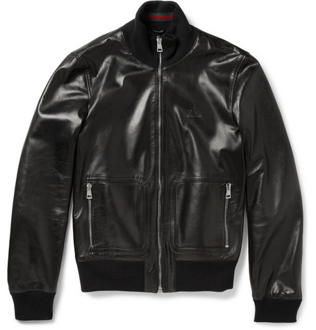 Gucci Nappa Leather and Web Trimmed Bomber Jacket