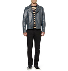 Gucci Distressed Leather Biker Jacket