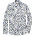 Gucci Flower-Print Slim-Fit Lightweight Cotton Shirt