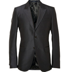 Gucci Navy Silk and Cotton-Blend Jacquard Blazer