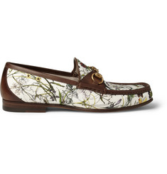 Gucci Floral-Print Canvas and Leather Loafers