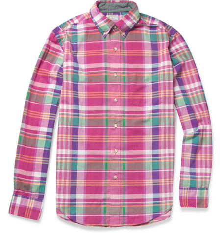 J.Crew Donahue Madras-Check Cotton Shirt
