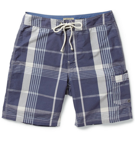 J.Crew Plaid Long-Length Cotton-Blend Swim Shorts