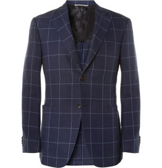 Canali Kei Check Linen and Cotton-Blend Blazer