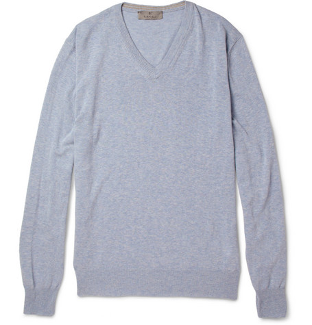Canali Knitted Cotton V-Neck Sweater
