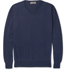 Canali Slim-Fit V-Neck Cotton Sweater