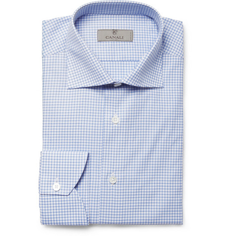 Canali Blue Check Cotton Shirt