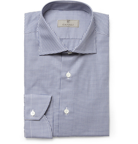 Canali Navy Gingham Check Cotton Shirt