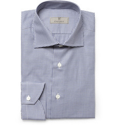Canali Navy and White Gingham Check Cotton Shirt