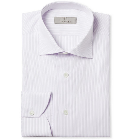 Canali Lilac Striped Cotton Shirt