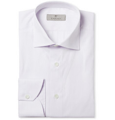 Canali Lilac and White Striped Cotton Shirt