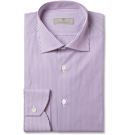 Canali Purple Bengal Stripe Cotton Shirt