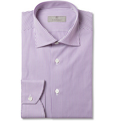 Canali Purple and White Bengal Stripe Cotton Shirt