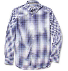 Canali Button-Down Collar Plaid Cotton Shirt