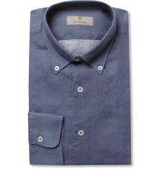 Canali Dark Blue Printed Linen Shirt