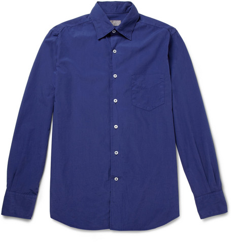Canali Washed Cotton-Poplin Shirt