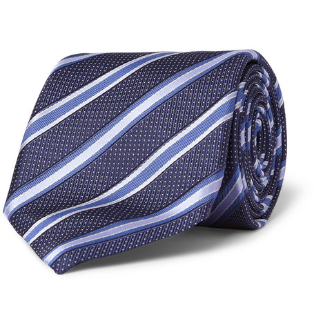 Canali Striped Woven-Silk Tie