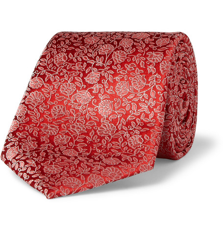 Canali Flower-Patterned Woven-Silk Tie