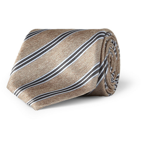 Canali Striped Herringbone Silk Tie