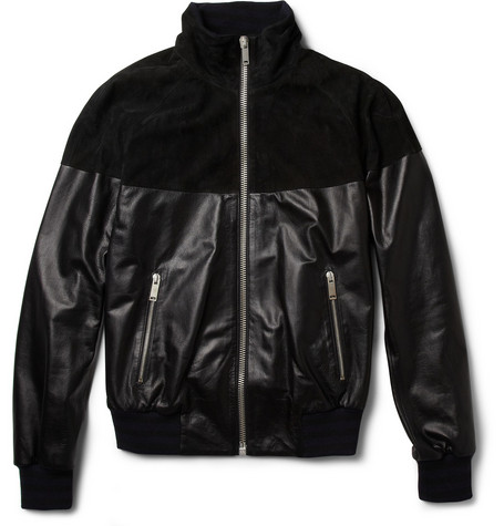 Alexander McQueen Leather and Suede Bomber Jacket