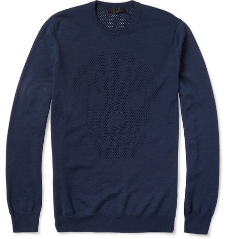 Alexander McQueen Skull-Patterned Mesh-Knit Wool Sweater