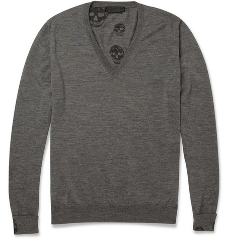 Alexander McQueen Fine-Knit V-Neck Wool Sweater