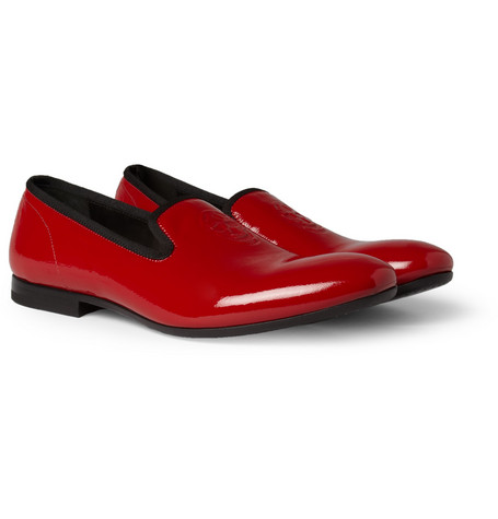 Alexander McQueen Skull-Embossed Patent-Leather Loafers