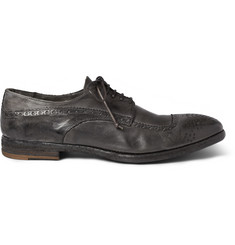 Alexander McQueen Burnished Washed-Leather Longwing Brogues
