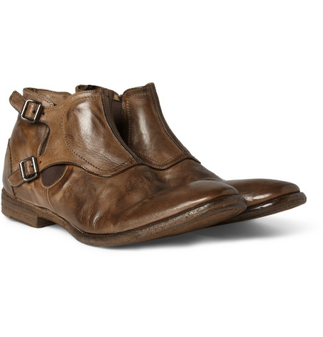 Alexander McQueen Buckled Worn-Leather Chelsea Boots