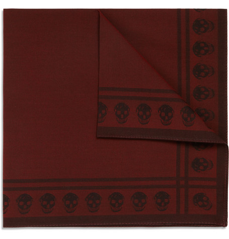 Alexander McQueen Skull-Patterned Cotton-Blend Pocket Square