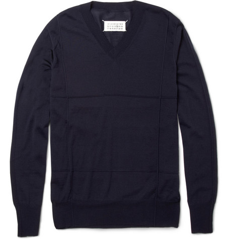 Maison Martin Margiela Raised-Check Wool V-Neck Sweater