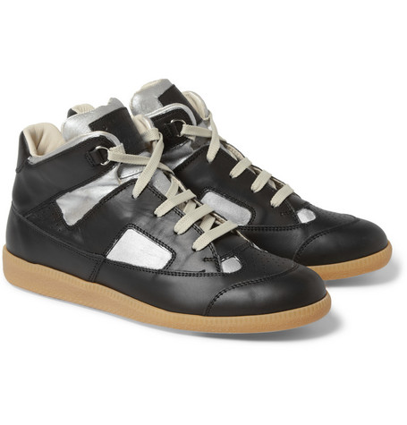 Maison Martin Margiela Painted Panelled-Leather High Top Sneakers