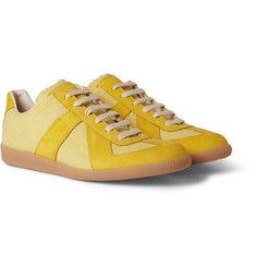 Maison Martin Margiela Canvas and Leather-Panelled Sneakers