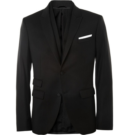 Neil Barrett Black Wool-Blend Tuxedo Jacket