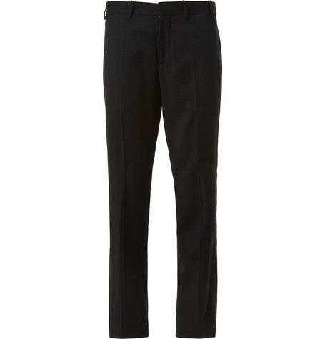 Neil Barrett Black Wool-Blend Tuxedo Trousers