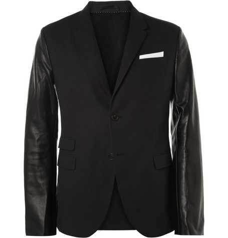 Neil Barrett Slim-Fit Leather-Sleeved Cotton-Blend Blazer