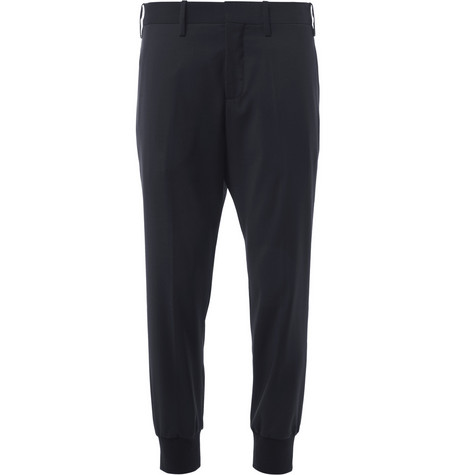 Neil Barrett Elasticated-Cuff Cropped Wool Trousers