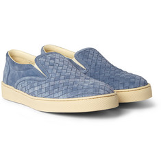 Bottega Veneta Intrecciato Suede Slip-On Shoes