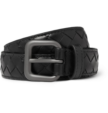 Bottega Veneta Black Slim Intrecciato Woven-Leather Belt