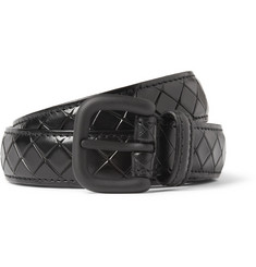 Bottega Veneta Black 2.5cm Intrecciato-Embossed Leather Belt