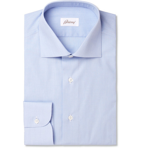 Brioni Blue Spread Collar Cotton Shirt