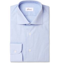 Brioni Light Blue Spread Collar Cotton Shirt