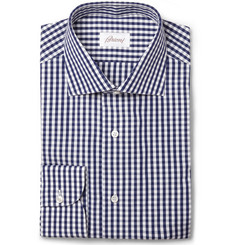 Brioni Blue and White Gingham Check Cotton Shirt