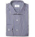 Brioni Blue Gingham Check Cotton Shirt