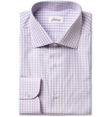 Brioni Lilac Gingham Check Cotton Shirt
