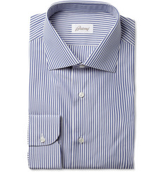 Brioni Blue and White Bengal Stripe Cotton Shirt