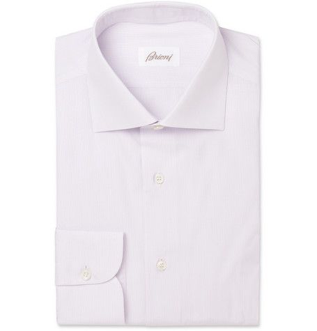 Brioni Lilac Fine-Stripe Cotton Shirt