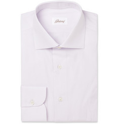 Brioni Lilac and White Fine-Stripe Cotton Shirt