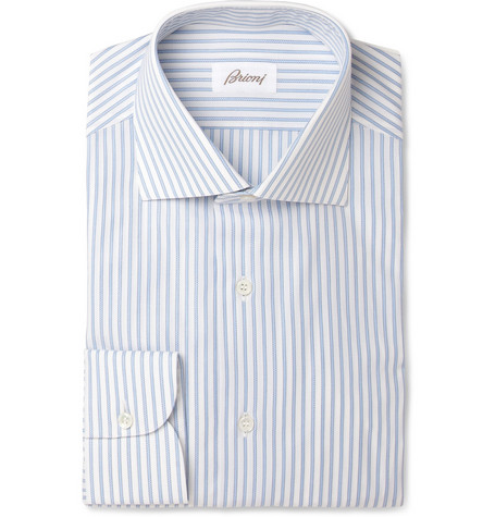 Brioni Blue and White Striped Cotton Shirt